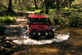 Land rover defender firenze red Stock Photos