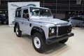 Land rover defender valencia spain december a silver defener at the valencia automovil car show production of the model began in Royalty Free Stock Images