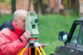 Land surveyor measuring with total station Stock Photo