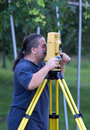 Land surveyor measuring with total station Royalty Free Stock Photos