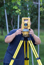 Land surveyor measuring with total station Royalty Free Stock Photography