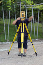Land surveyor measuring with total station Stock Photography