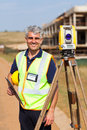 Land surveyor portrait happy senior outdoors Stock Images