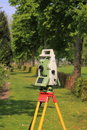 Land surveyor total station on tripod Stock Image