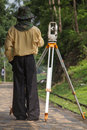 Land surveyor working on a construction site Royalty Free Stock Photo
