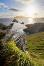 Land water air scenic irish west coast looking from dingle peninsula europe s most westerly point in western ireland towards Stock Photo