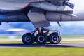 Landing gear in motion Royalty Free Stock Photo