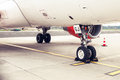 Landing gear and undercarriage of a jet airplane, parked Royalty Free Stock Photo