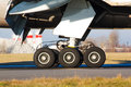 Landing gear with wheels of huge airplane Royalty Free Stock Images
