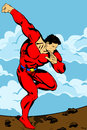 Landing hero illustration of a super comic book retro style illustration with clouds on the background Royalty Free Stock Image