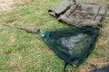 Landing net the to catch fish prepared Stock Photo