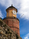 Landmark clock tower by cemetery tende provence france striking as it were in alpes maritimes Stock Images