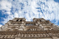 Landmark Gothic cathedral Notre-dame in Paris Stock Photography