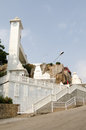Landmark hindu temple birla mandir overlooking city hyderabad andhra pradesh Royalty Free Stock Image