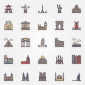 Landmark icons set vector colorful travel symbol or signs Stock Photos