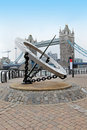 Landmark london famous on thames river with sun clock Royalty Free Stock Photo