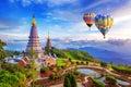 Landmark pagoda in doi Inthanon national park with Balloon at Chiang mai. Royalty Free Stock Photo