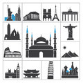 Landmark travel icons vector set for you design Stock Photos