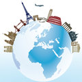 Landmarks around world globe illustration of with aircraft in flight Stock Photos