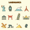 Landmarks doodle icons vector hand drawing style Stock Photography
