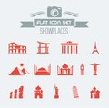 Landmarks flat icon set with lable vector eps Royalty Free Stock Images