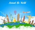Landmarks on the globe.