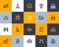 Landmarks icons. Flat style