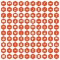 100 landmarks icons hexagon orange