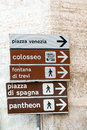 Landmarks of rome signpost with directions to famous Stock Images