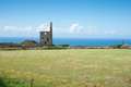 Landscape with abandoned structure of a tin mine Royalty Free Stock Photo