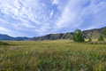 Landscape of the altai meadow and mountains with medieval cemetery marked by birch tree Royalty Free Stock Photo