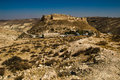 Landscape ancient impressive castle on mountain. Shobak crusader fortress. Castle walls. Travel concept. Jordan architecture and a Royalty Free Stock Photo