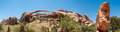 Landscape arch panorama thought to be the longest stone int he world is in the devil s garden area of arches national park near Royalty Free Stock Photos