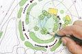 Landscape Architect Designing on plans Royalty Free Stock Photo