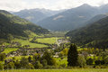 Landscape of austrian alps and the town rangerdorf Royalty Free Stock Images
