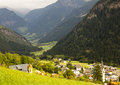 Landscape of austrian alps and the town winklern Stock Photography