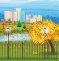 Landscape of autumn city Park cityscape Royalty Free Stock Photo