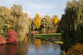 Landscape autumn with lake and weeping willow Royalty Free Stock Photos