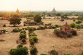 Landscape of Bagan on sunset with temples Royalty Free Stock Photo