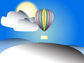 Landscape of Ballon floating up over the mountain on clounds and sky background on sunlight