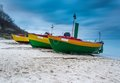 Landscape with Baltic Sea. Fishing boat on the beach. Tranquil evening landscape. Royalty Free Stock Photo