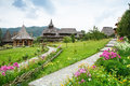 Landscape barsana monastery maramures in romania Royalty Free Stock Photography