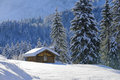 Landscape in Bavaria with alpine hut at winter Royalty Free Stock Photo