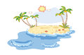 Landscape on the beach cartoon with coconut trees Royalty Free Stock Photography