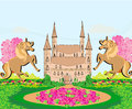 Landscape with a beautiful castle and unicorns illustration Stock Images