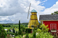Landscape beautiful garden in front of windmill Royalty Free Stock Photo