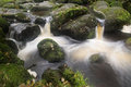 Landscape of becky falls waterfall in dartmoor national park eng england Royalty Free Stock Photos