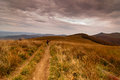 Landscape in the Bieszczady mountains in Poland. Royalty Free Stock Photo