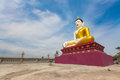 Landscape of big buddha statues in thailand with blue sky in the afternoon sunlight stay in thai public domain temple Royalty Free Stock Photography
