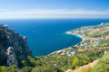Landscape with Blue Bay near Simeiz town, Crimea Royalty Free Stock Photo